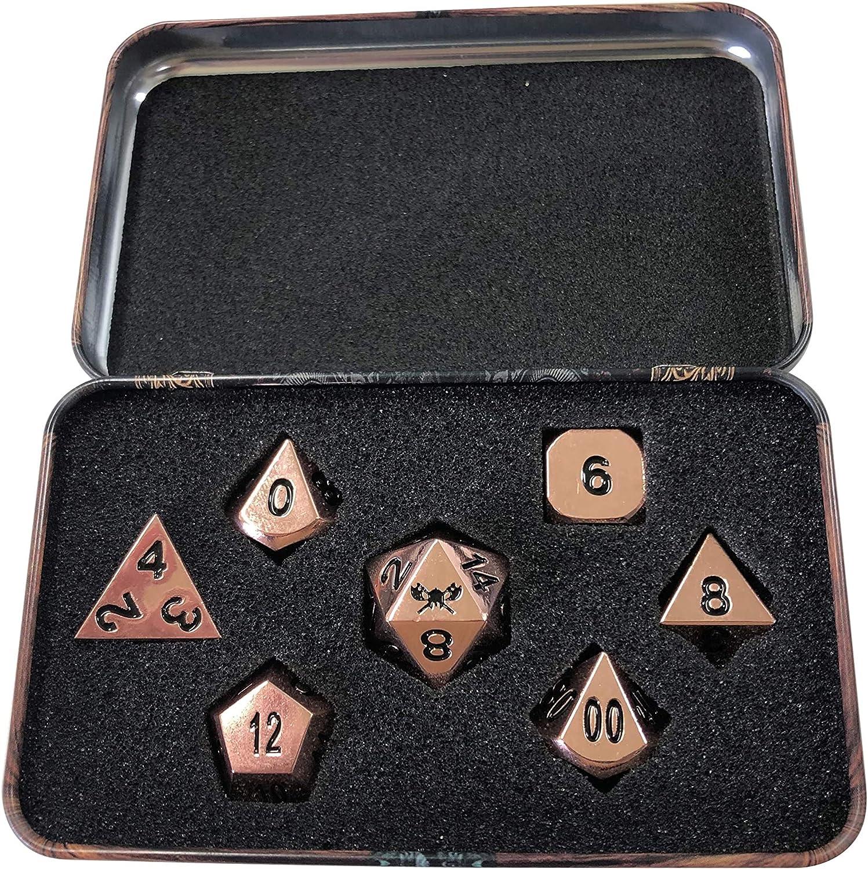 mit Awesome Zwerge Brust W/ürfel Fall RPG Dice Set massivem Metall Polyhedral Rolle spielen Game 7/sterben in Pack Totenkopf Splitter W/ürfel Kupfer Farbe Metall W/ürfel mit schwarzen Zahlen