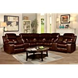 Kings Brand 3-Piece Reclining Sectional with Cup Holders & Storage Consoles, Brown