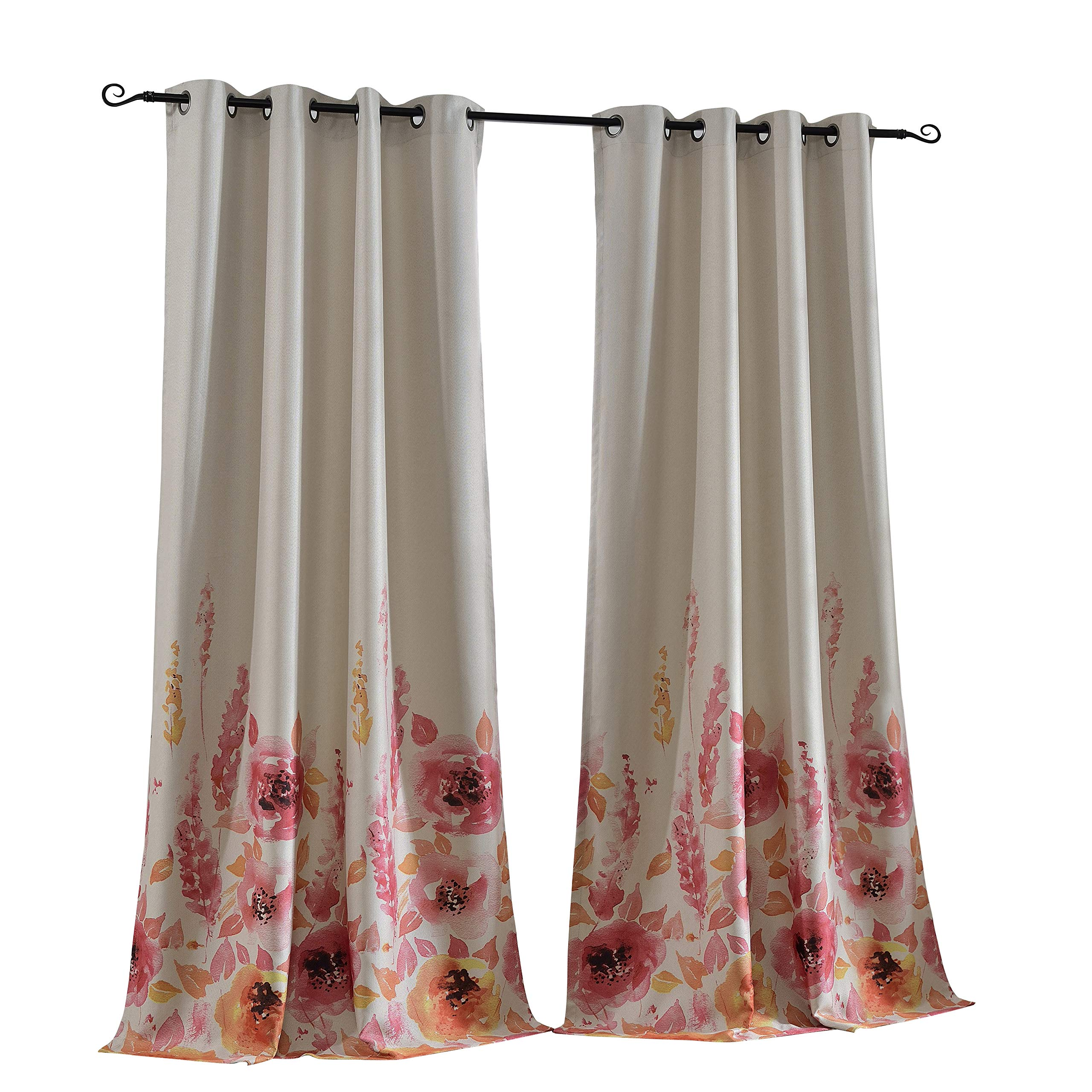 Home Office Curtains In Mysky Home Floral Design Print Grommet Top Thermal Insulated Faux Linen Room Darkening Curtains 52 Curtains For Home Office Amazoncom