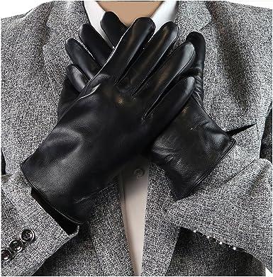 Debra Weitzner Mens Black Leather Gloves Rabbit Fur lined Genuine Leather To...