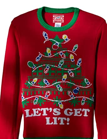 hybrid mens lets get lit ugly christmas sweater with led lights red