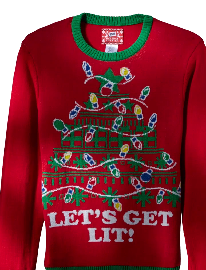Hybrid Mens Lets Get Lit Ugly Christmas Sweater With Led Lights At