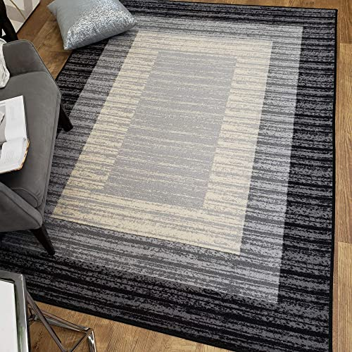 Area Rug 3×5 Gray Border Stripe Kitchen Rugs and mats Rubber Backed Non Skid Living Room Bathroom Nursery Home Decor Under Door Clearance Entryway Floor Non Slip Washable