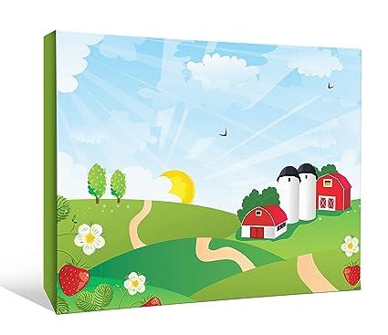 amazon com jp london kids cartoon farm sunrise fields barn and