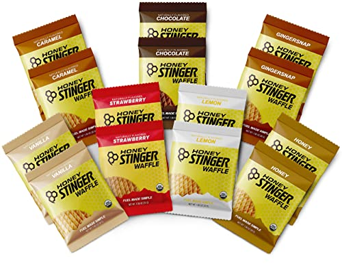 Honey Stinger Organic Waffles – Variety Pack With Sticker 14 Count 2 of Each Flavor Energy Source for Any Activity Honey, Chocolate, Caramel, Gingersnap, Vanilla, Strawberry Lemon
