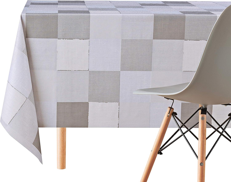 Mantel de trabajo 200x140 cm vinilo PVC KP HOME Cuadrados grandes grises