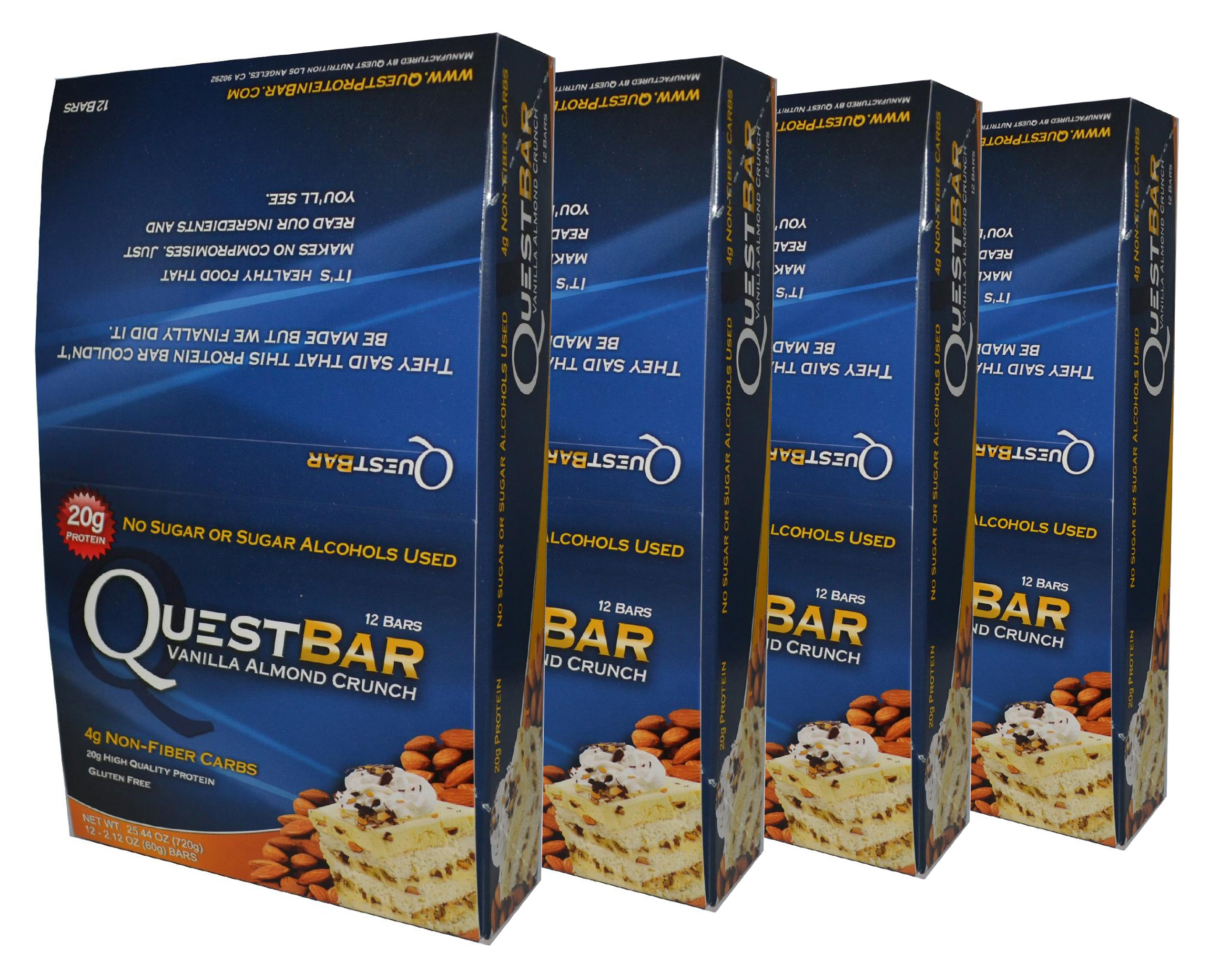 Quest Bar Vanilla Almond Crunch-4 Boxes- Low Carb Protein Weight Loss Muscle Building (48 Bars)
