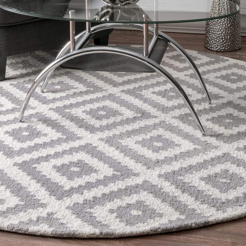 Grey 6' Round nuLOOM MTVS174B Hand Tufted Kellee Wool Runner Rug, 2' 6  x 8', Grey