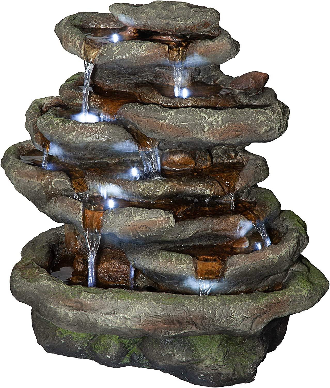 Design Toscano QN164061 Ribbon Ridge Cascading Waterfall Illuminated Garden Fountain, 21 Inch, Faux Stone