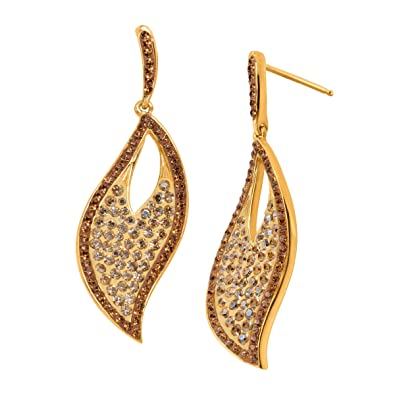 b0a5ad8628366 Amazon.com: Crystaluxe Twisted Leaf Drop Earrings with Swarovski ...
