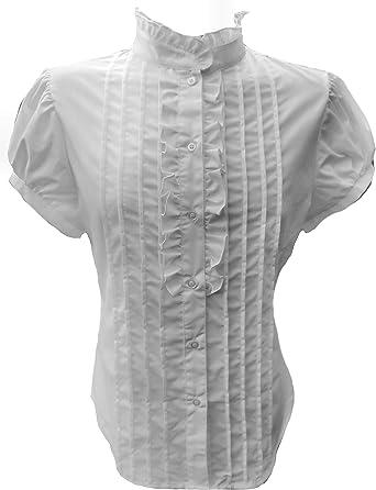 Blusa blanca Shirt-42 de la colmena del cuello del algodón alto ...