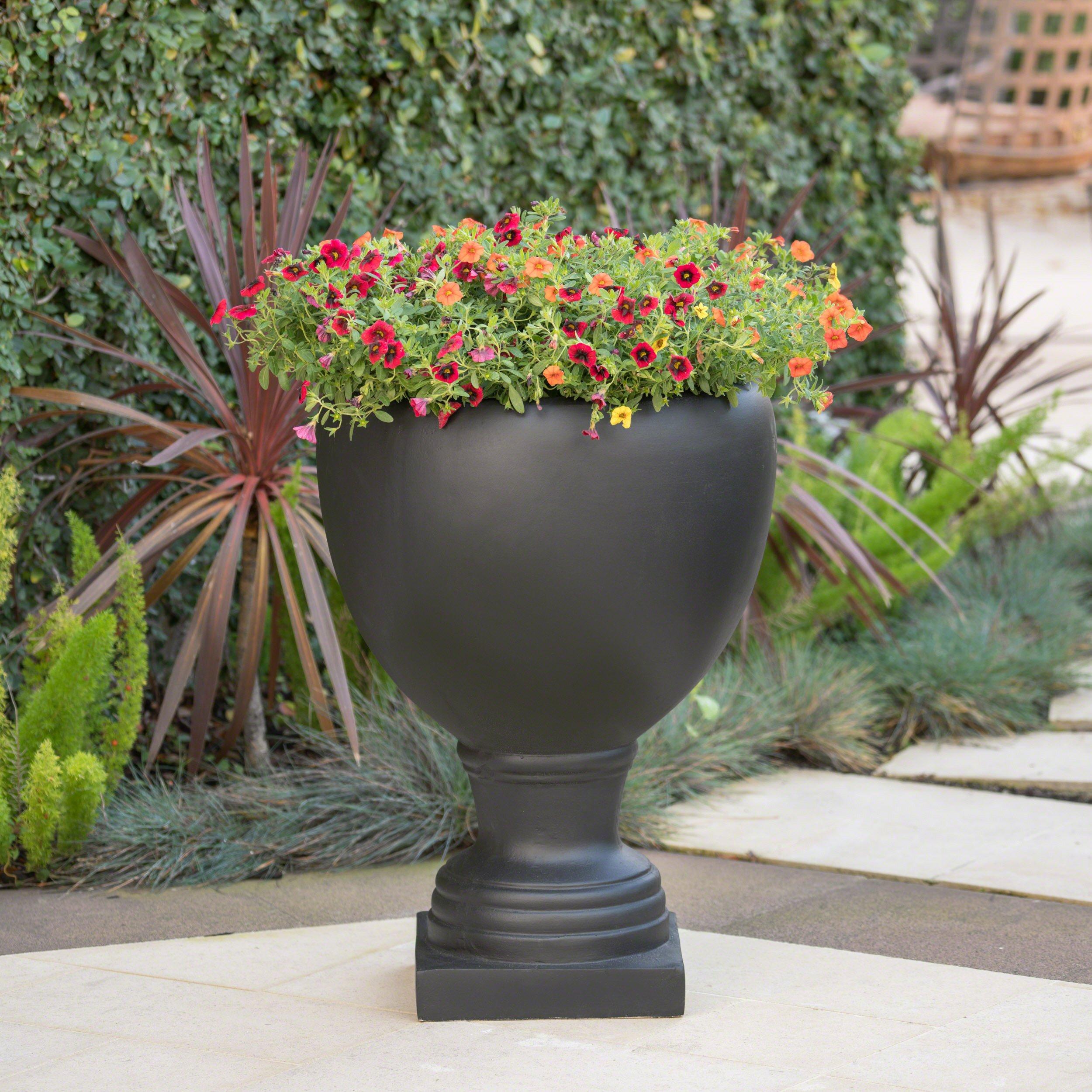 Great Deal Furniture Shiny Outdoor Matte Black Finished Cast Stone Urn