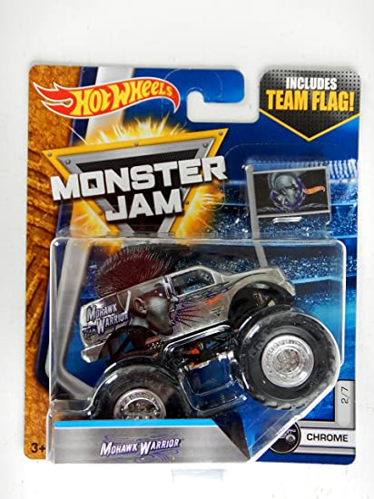 Amazon Com Hot Wheels Monster Jam Chrome Mohawk Warrior Includes Team Flag 2 7 Toys Games