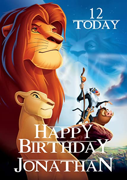 The lion king birthday card customized with your name and age the lion king birthday card customized with your name and age design 1 bookmarktalkfo Images