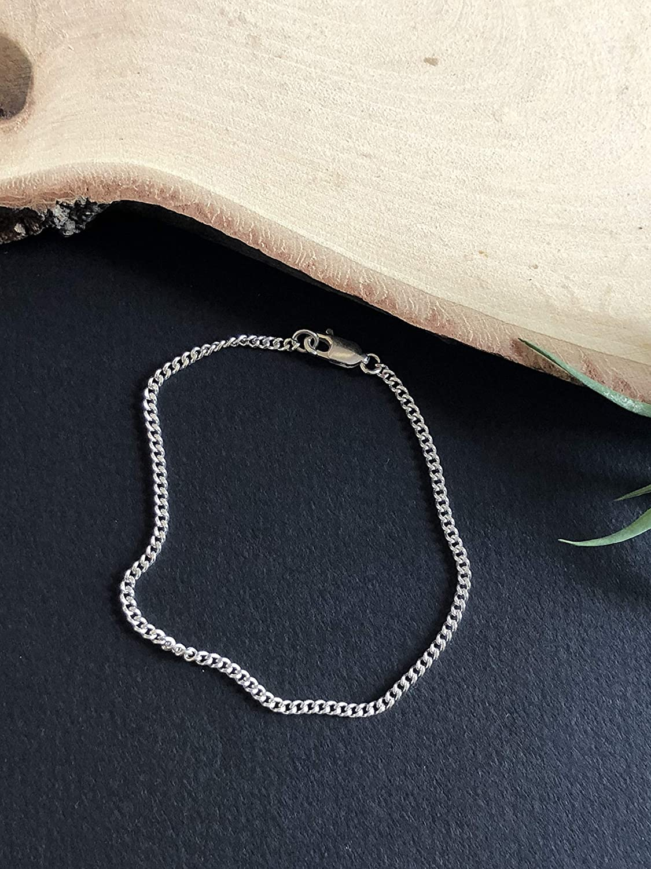 Sterling Silver Chain Bracelet Handmade Designer jewelry Gifts for Women or Men Minimalist Simple Stacking Plain Bracelet
