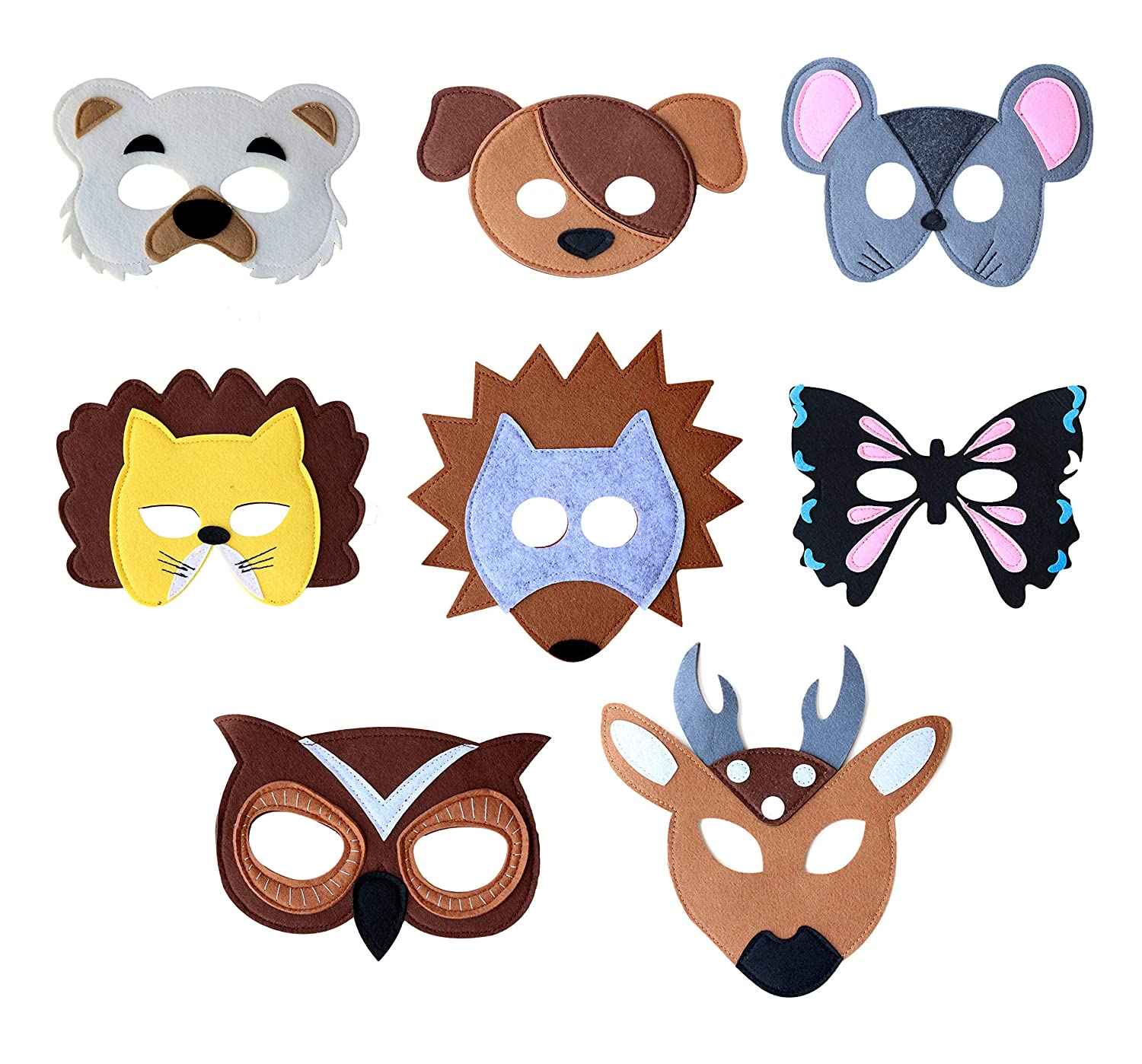 Set of 8 Felt Animal Masks for Pretend Play Dress up Parties