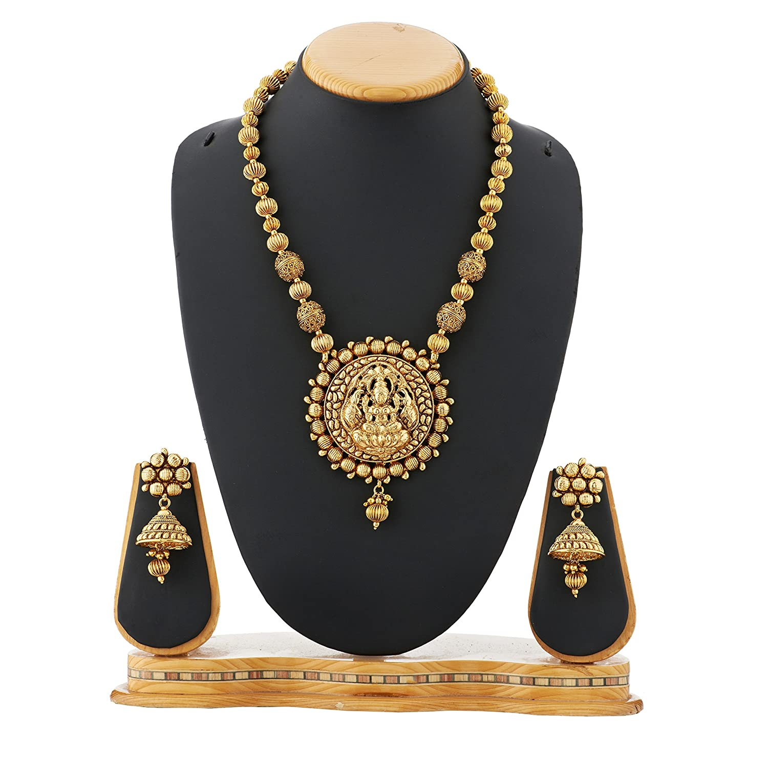 Buy Satyam jewellery Nx Gold Copper Ball Chain Temple Necklace Set ...
