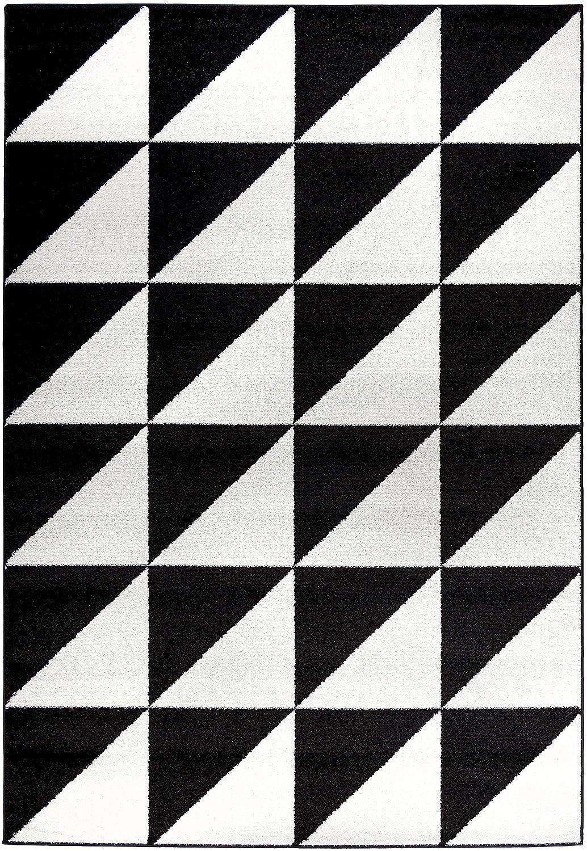 Carpetforyou Moderner geometrischer Kurzflor Teppich Brick B&W Dreieck Rechteck schwarz weiß in 4 Größen für Wohnzimmer oder Jugendzimmer (160 x 230 cm)