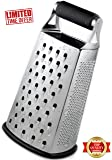 Capocuoco - Cheese Grater - BEST GRIP - Premium Box Grater - Grater for Kitchen - Cheese and Vegetable Shredder - Slicer - 4-sided stainless steel