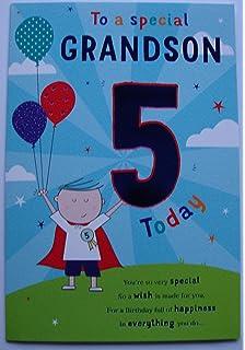 Happy 5th Birthday Grandson Card Amazoncouk Kitchen Home