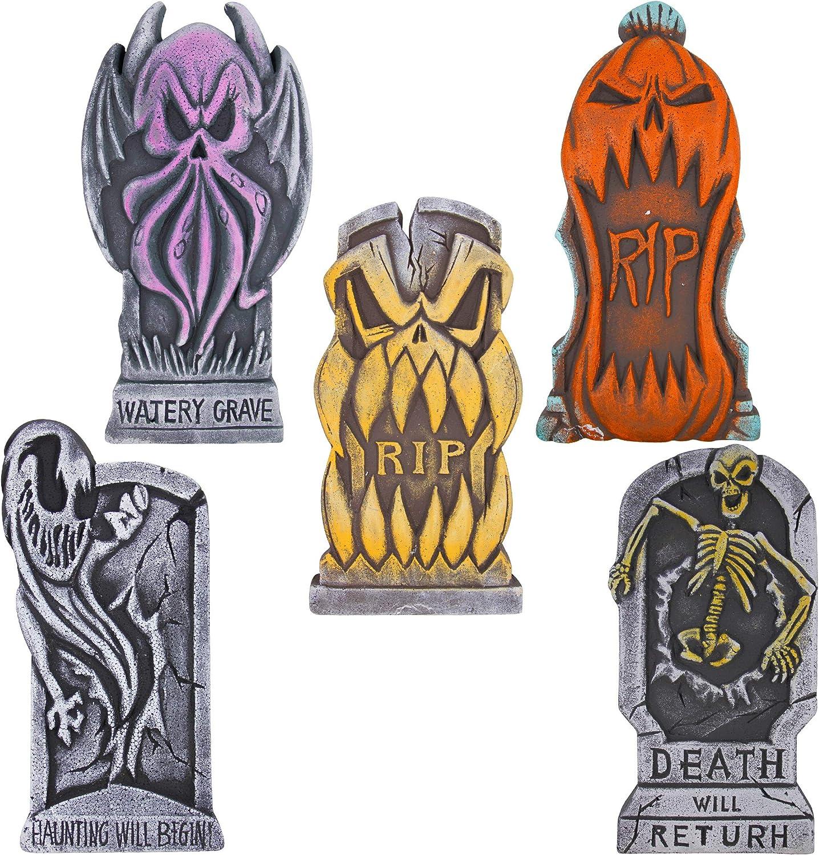 "ATDAWN 17"" Halloween Foam Graveyard Tombstones, Halloween Headstone Decorations with 12 Metal Stakes for Halloween Yard Decorations, 5 Pack"