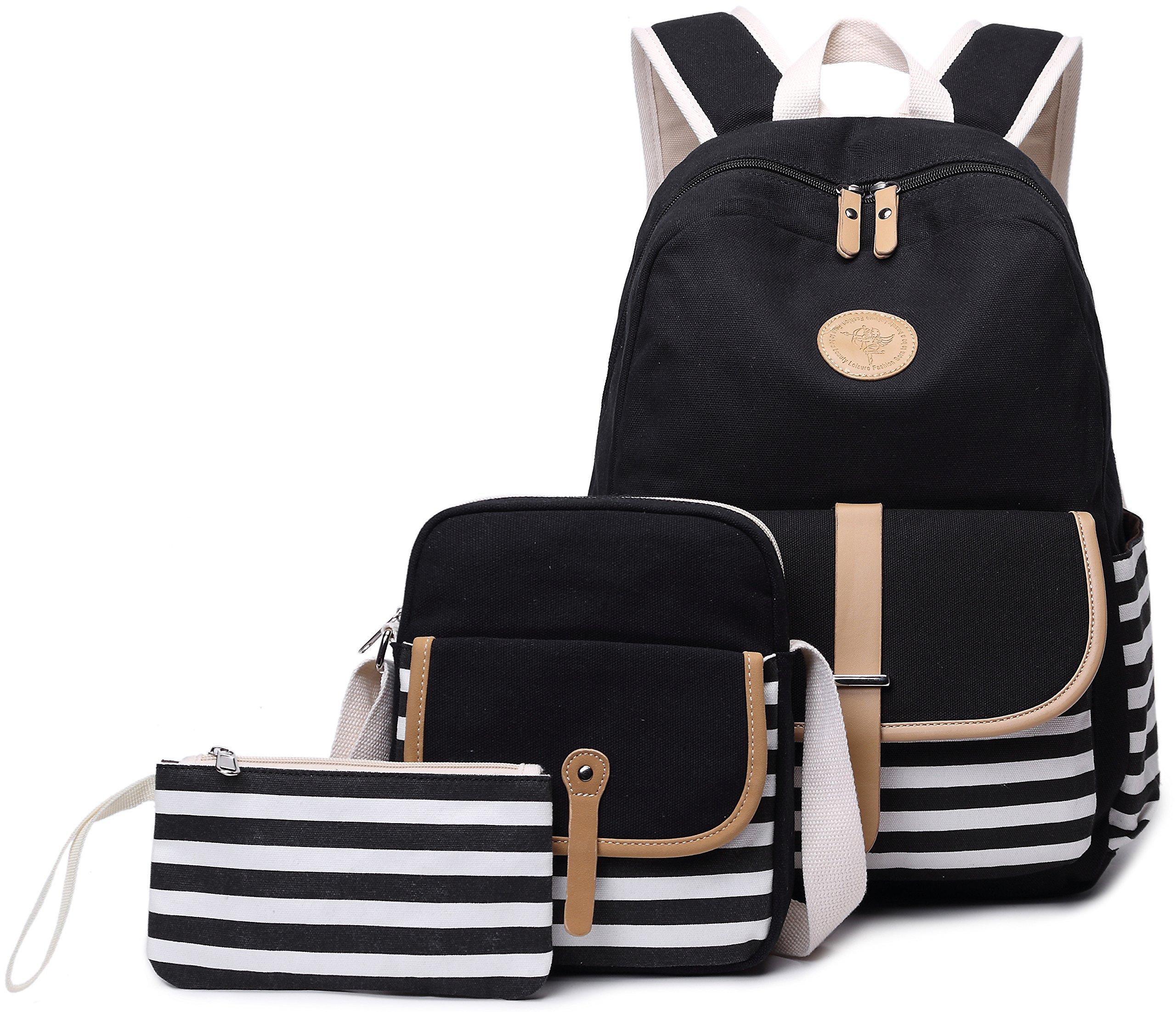 School Backpack for Girls, Gazigo Womens High School College Bookbags Laptop Bag (Black) by Gazigo (Image #3)