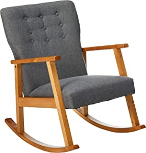 Christopher Knight Home Harvey Mid-Century Modern Fabric Rocking Chair, Grey / Light Walnut