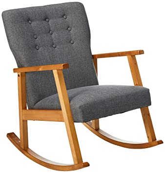 Stupendous Christopher Knight Home 302188 Hank Mid Century Modern Fabric Rocking Chair Grey Light Walnut Creativecarmelina Interior Chair Design Creativecarmelinacom