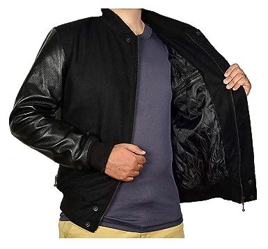 e76527b24 Mens Destroyer XXIV Battle Varsity Jacket Basketball Wool Leather Bomber  Jacket