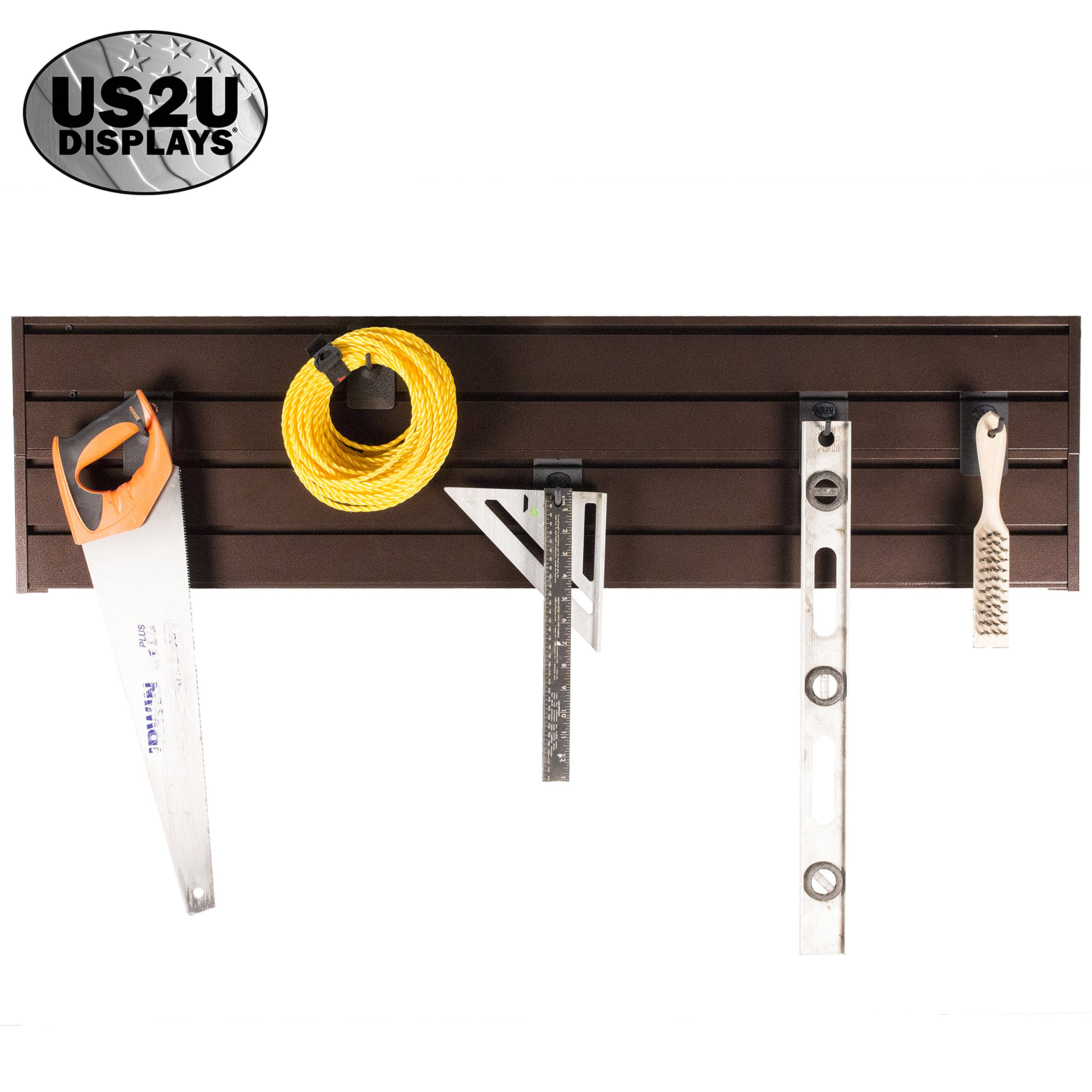 US2U Displays Garage Storage System - 4x Slat Wall Tool Organizer 4' Extruded Aluminum Stackable Rails for Shelving, Hooks and Organization USSW2-C Copper