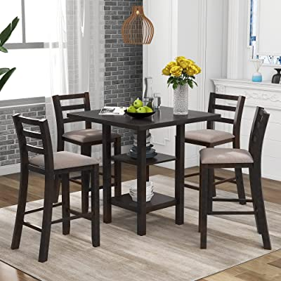 Buy P Purlove 5 Piece Dining Table Set Square Dining Room Table And 4 Padded Chairs Retro Style Wood Kitchen Table Set With 2 Tier Storage Shelves For 4 Persons Espresso And Gray