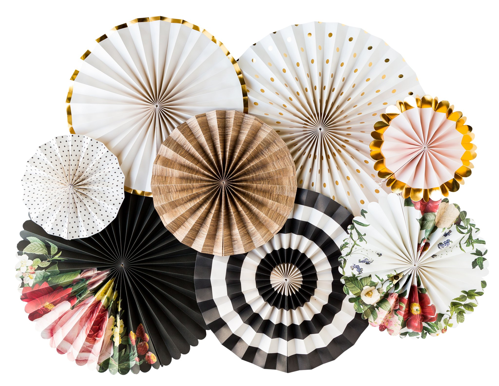 My Mind's Eye Botanical Double Sided Party Fans, BTP401 Set of 8 Fans