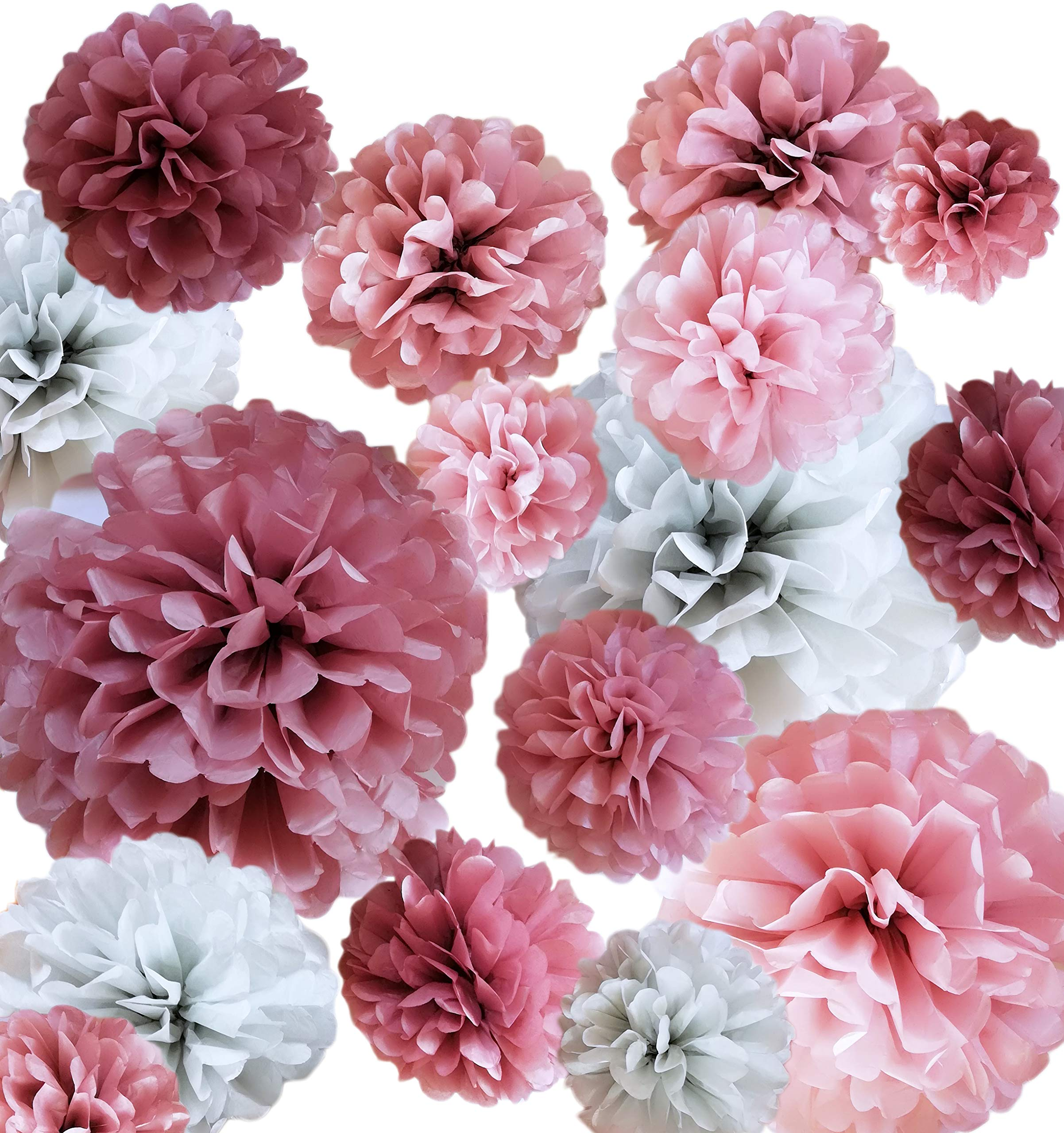 VINANT 20 PCS Tissue Paper Pom Poms - Paper Flower - Party Decoration for Birthday Party - Baby Shower - Bridal Shower - Wedding - Bachelorette - Dusty Rose, Mauve, Blush Pink, Grey - 14'', 10'', 8'', 6''