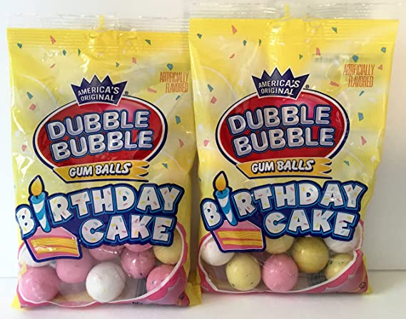 Terrific Amazon Com Dubble Bubble Birthday Cake Gum Balls 4 Oz Bag 2 Personalised Birthday Cards Paralily Jamesorg