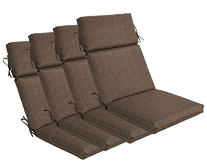 Bossima Indoor/Outdoor Coffee High Back Chair Cushion, Set Of 4.Spring/