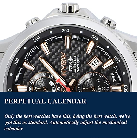 NYSW Reloj Inteligente híbrido clásico - Impresionante de Segunda Mano - Cristal de Zafiro - Perpetual DayMore (MH-04): Amazon.es: Relojes