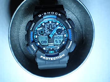 Amazon.com: Casio G SHOCK Negro y Azul GA100 GA-100 X-Large ...
