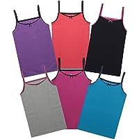 Buyless Fashion Camiseta de algodón sin Mangas con Estampado para Niñas (Pack 6)