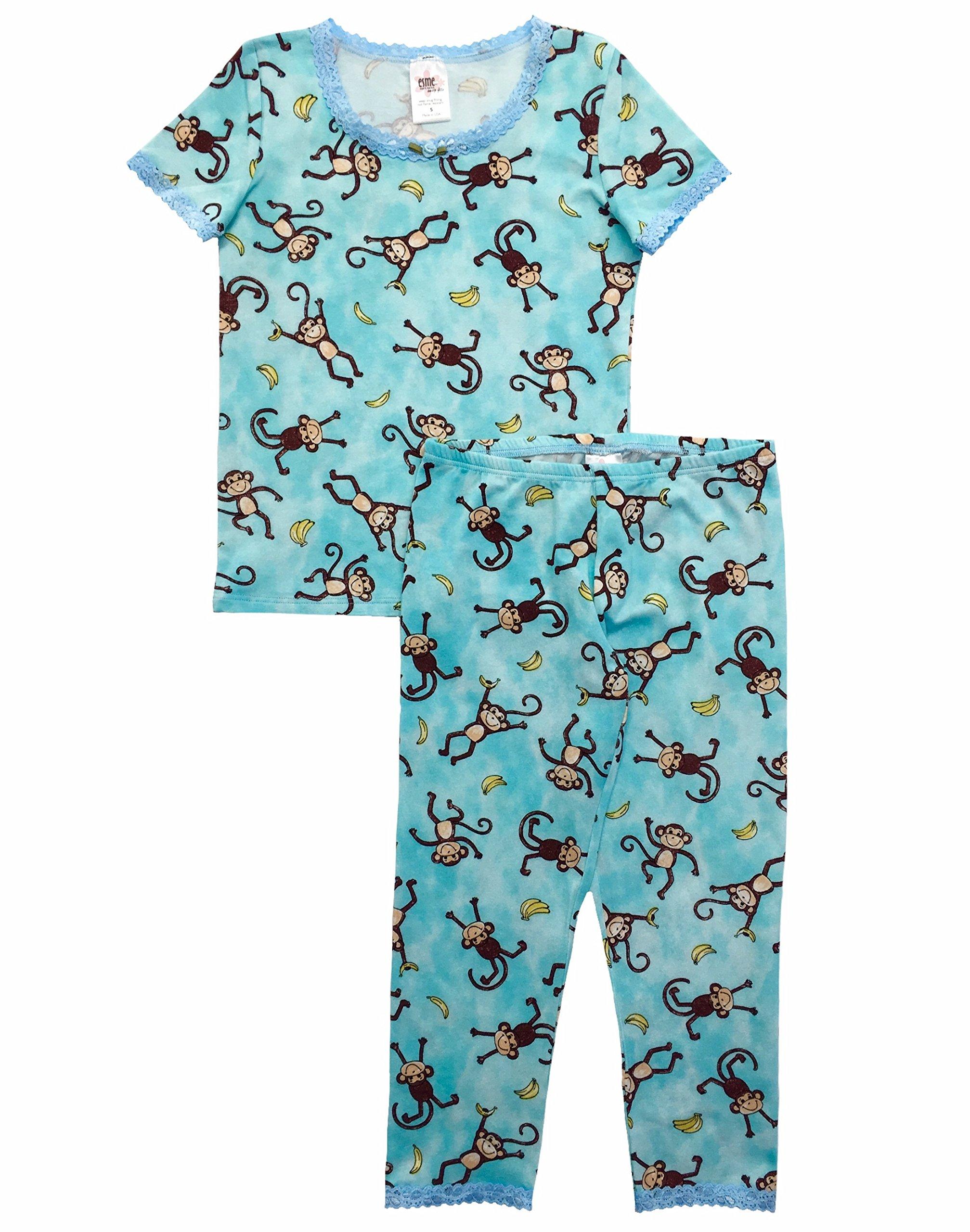 Esme Girl's Sleepwear Short Sleeve Top Leggings set 4 Monkey