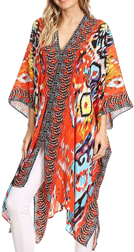 7f11951f91649 Sakkas P1 - Libra Mid Length Caftan Dress/Cover Up with Tribal Print/ Rhinestones and V-Neck - 1729-Orange Multi - OS at Amazon Women's Clothing  store: