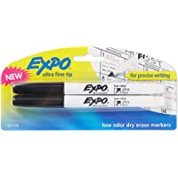 Expo Low-Odor Dry Erase Markers, Ultra-Fine Tip, 2-Pack, Black