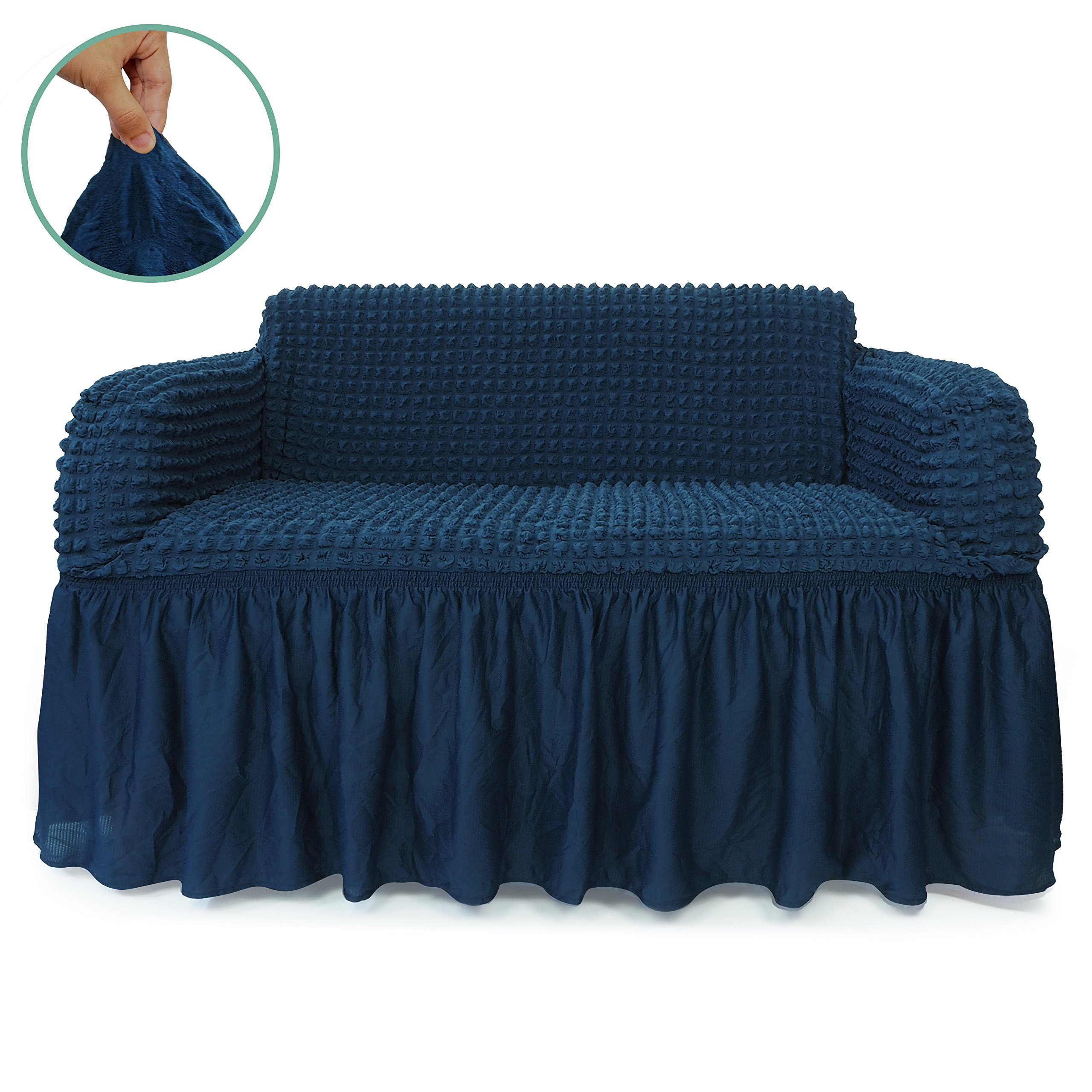 STARS 1-Piece Stretchable Easy Fit Sofa Cover Durable Furniture Slipcover in Country Style Made of Machine Washable and Quick-Drying Fabric for 2-seat sofa and couch(Loveseat,Navy Blue) by