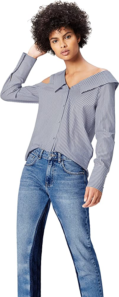 Marca Amazon - find. Camisa Asimétrica Oversize de Rayas para Mujer, Multicolor (Blue/white Stripe), 36, Label: XS: Amazon.es: Ropa y accesorios
