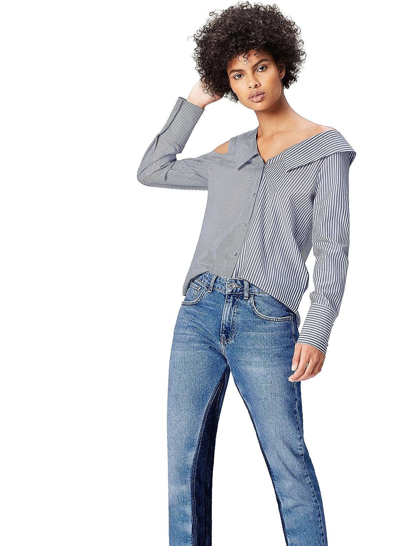 TALLA 38 (Talla del fabricante: Small). FIND Camisa Asimétrica Oversize de Rayas para Mujer