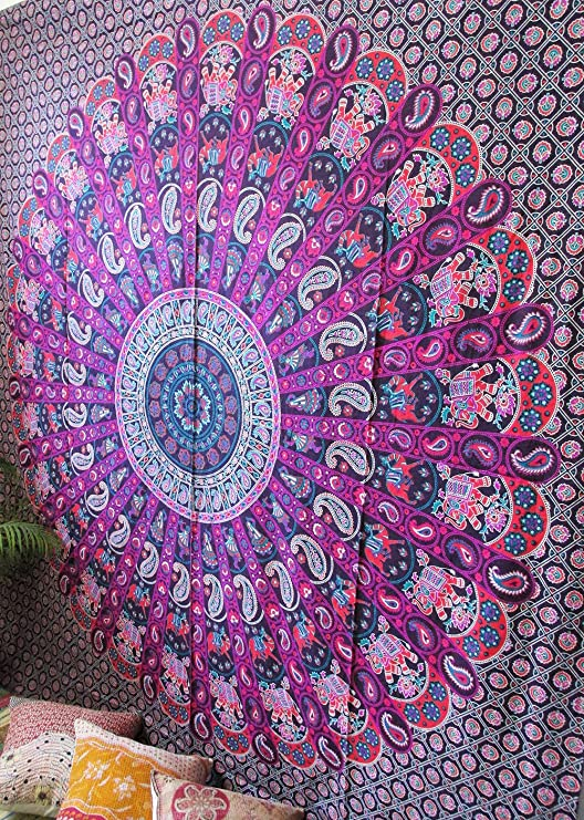 Hippie Tapestry Psychedelic Indian Mandala Wall Hanging Tapestry Throw Bedspread