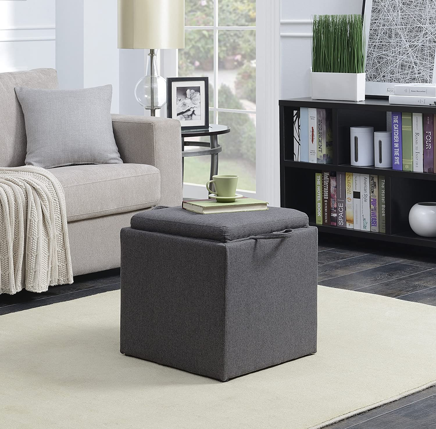 Convenience Concepts Designs4Comfort Park Avenue Single Ottoman with Stool, Black 143010B