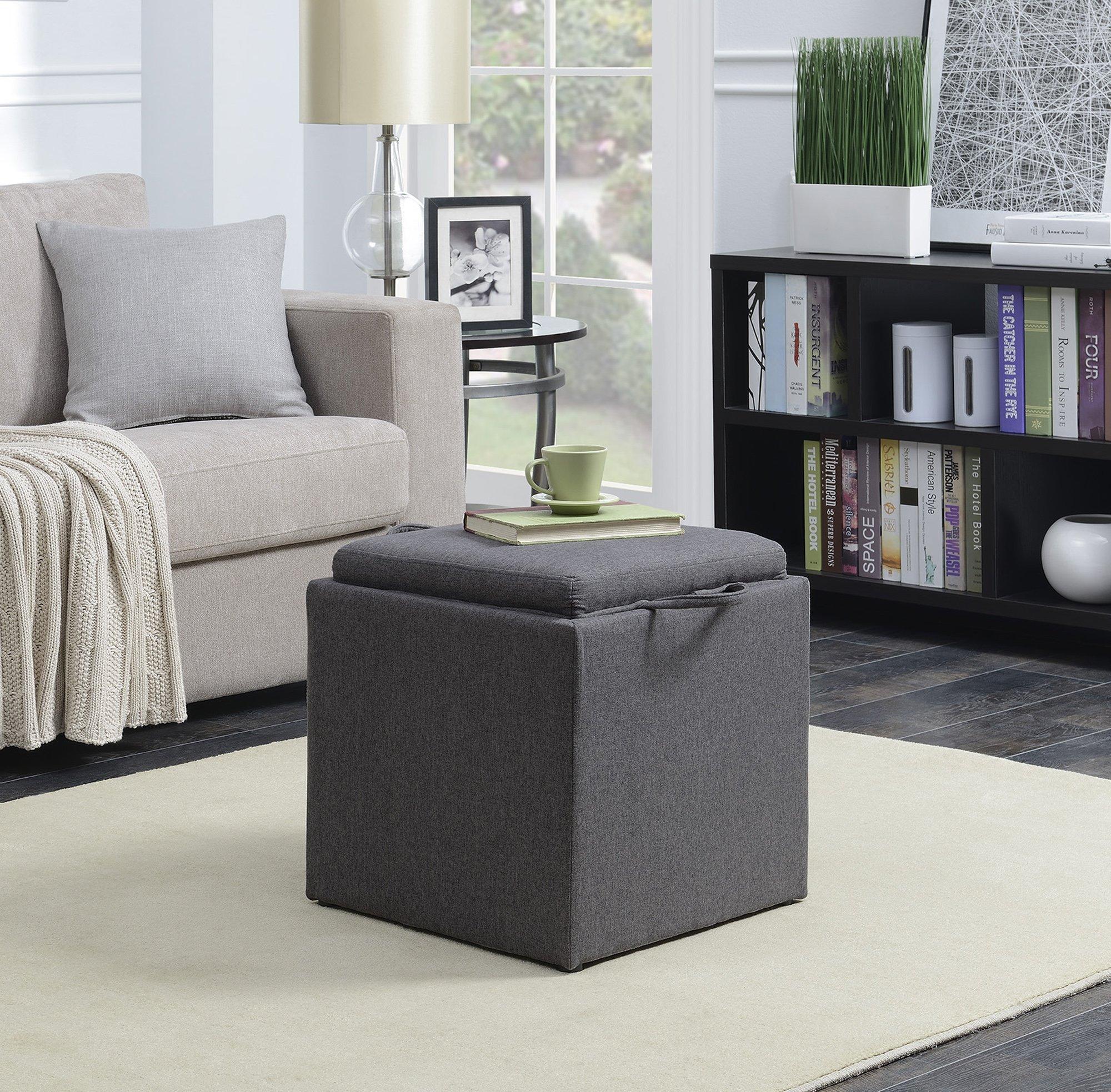 Convenience Concepts 143010FSGY Designs4Comfort Ottoman, Soft Gray Fabric