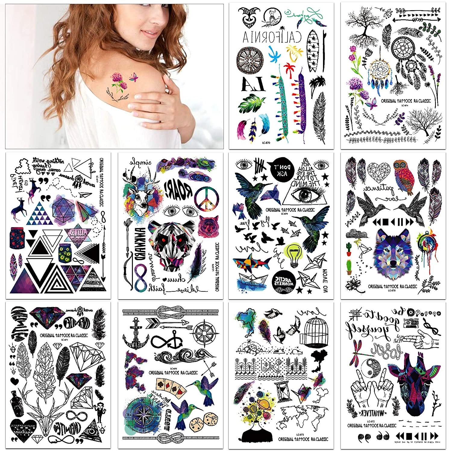 Temporary Tattoos Stickers(10Sheets 237Designs),Konsait Realistic Fake Tribal Body Temporary Tattoos Supplies Temporary Rose Eye Tattoos for Dream Party for Kids Adult Women Men Boys Girls