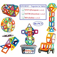 Gift Equals Love Gelmag Magnetic Blocks - 66 pcs of Magnetic Building Blocks, Premium Quality Constructing and Creative Learning Educational Nextgeneration Multicolor Toy for Kids with Storage Box