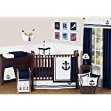 Anchors Away Nautical Navy and White Boys Baby Bedding 11 Piece Crib Set without bumper